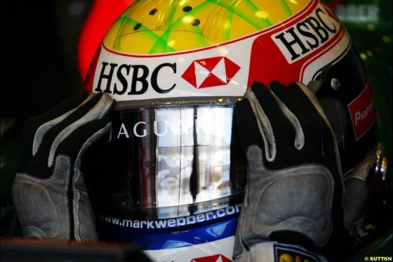 Mark Webber, Jaguar, European GP, Friday May 28th, 2004.