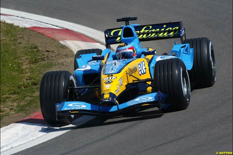 Fernado Alonso, Renault, European GP, Friday May 28th, 2004.