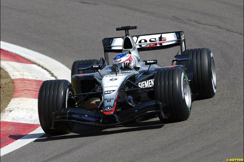 Kimi Raikkonen, Mclaren-Mercedes, European GP, Friday May 28th, 2004.