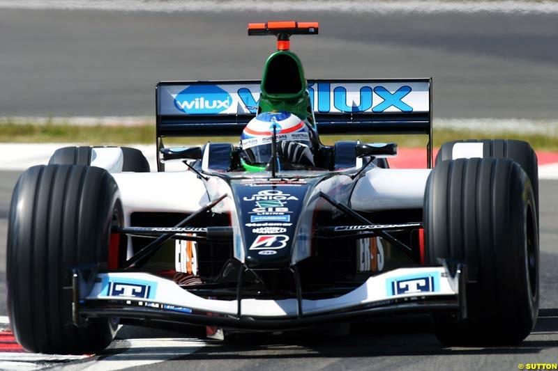 Gianmaria Bruni (ITA) Minardi PS04B. Formula One World Championship, Rd 7, European Grand Prix, Nurburgring, Germany, Practice, 28 May 2004.