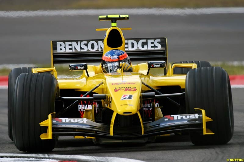 Timo Glock (GER) Jordan Test Driver. Formula One World Championship, Rd 7, European Grand Prix, Nurburgring, Germany, Practice, 28 May 2004.
