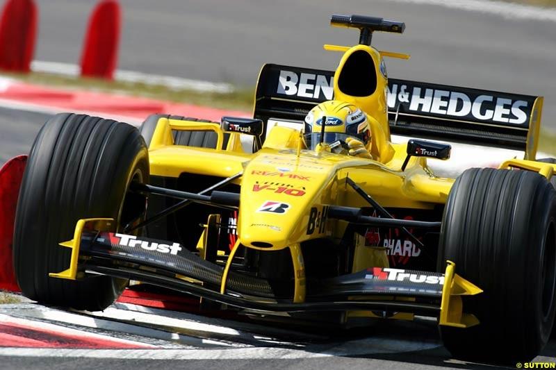 Giorgio Pantano (ITA) Jordan Ford EJ14. Formula One World Championship, Rd 7, European Grand Prix, Nurburgring, Germany, Practice, 28 May 2004.
