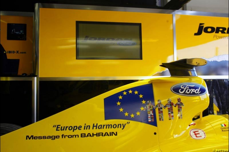 The Message from Bahrain this week is Europe in Harmony. Formula One World Championship, Rd 7, European Grand Prix, Nurburgring, Germany, Practice, 28 May 2004.