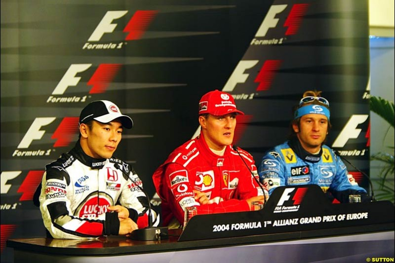 Takuma Sato, Michael Schumacher, Jarno Trulli, European GP, Saturday May 29th, 2004.