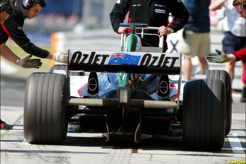 Minardi-Cosworth, European GP, Saturday May 29th, 2004.