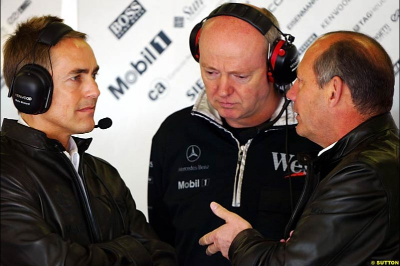 Martin Whitmarsh, Steve Hallam, and Ron Dennis; European GP, Saturday May 29th, 2004.