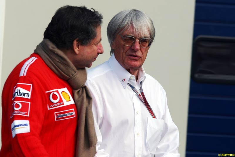 Jean Todt and Bernie Ecclestone, European GP, Saturday May 29th, 2004.