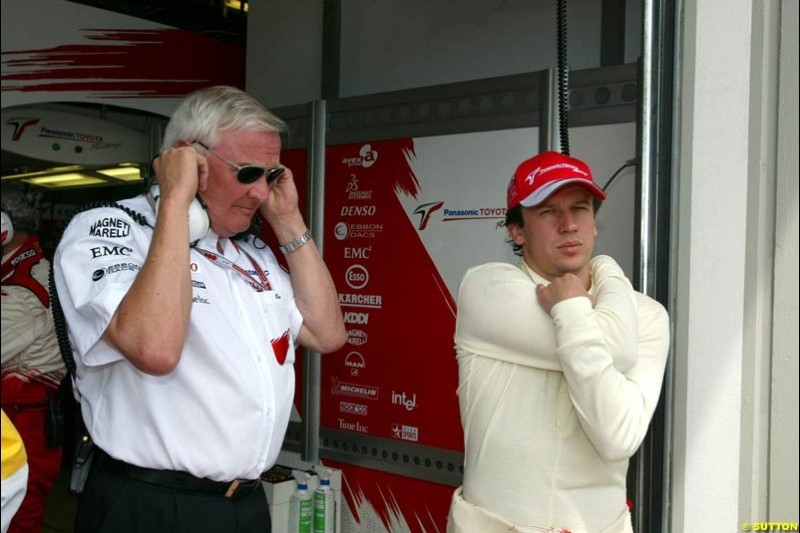 Ove Andersson and Olivier Panis, Toyota, May 30th, 2004.