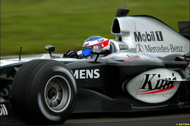 Kimi Raikkonen, Mclaren-Mercedes, Silverstone Testing, Thursday June 3rd, 2004.