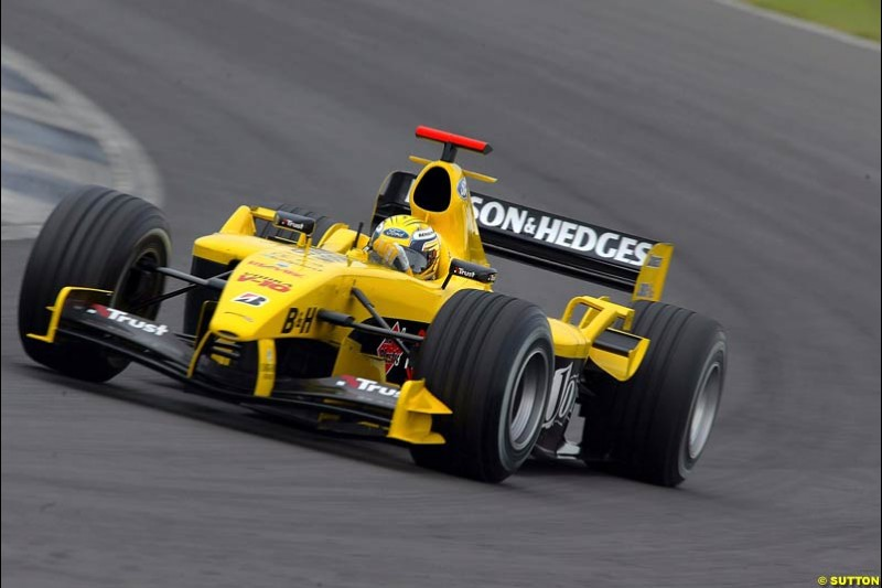 Giorgio Pantano, Jordan-Ford, Silverstone Testing, Thursday June 3rd, 2004.