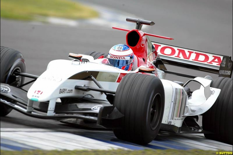 Jenson Button, BAR-Honda, Silverstone Testing, Thursday June 3rd, 2004.