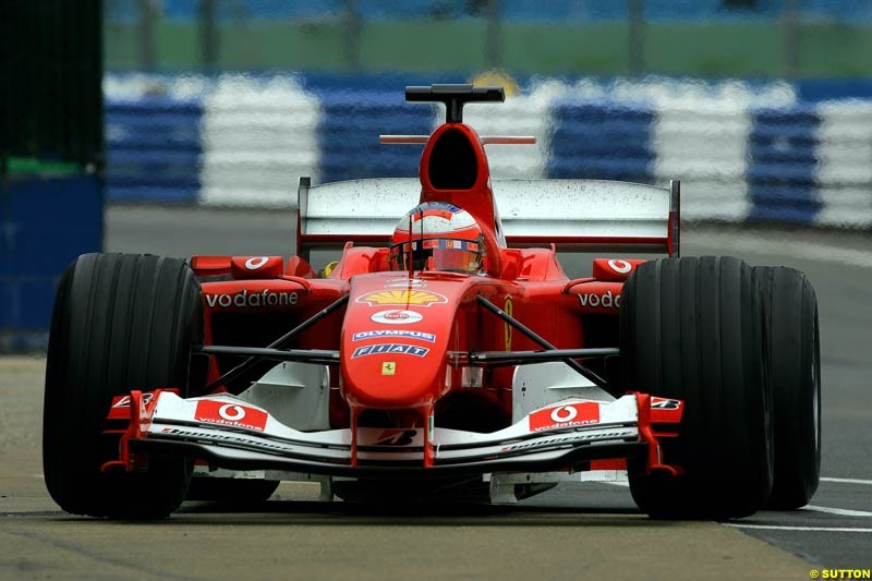 Rubens Barrichello, Ferrari, Silverstone Testing, Thursday June 3rd, 2004.