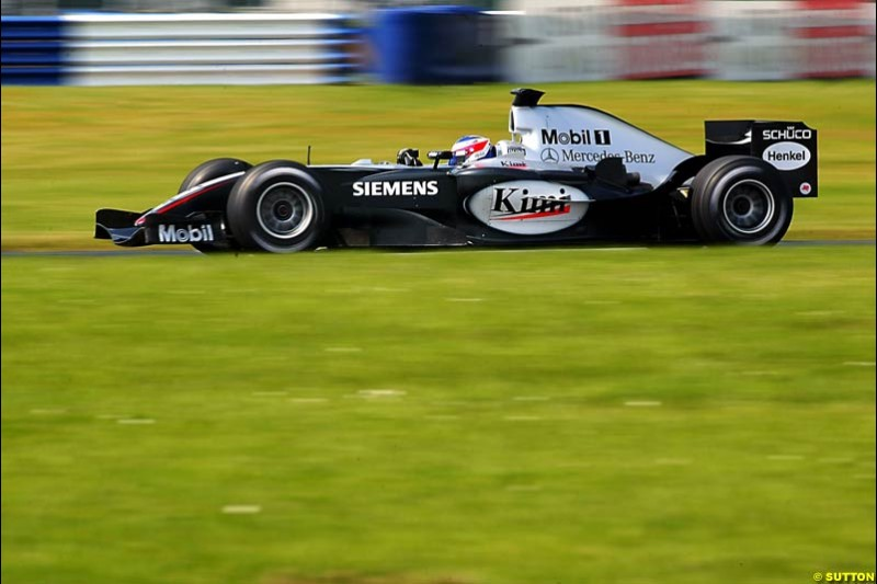 Kimi Raikkonen, Mclaren-Mercedes, Silverstone Testing, Wednesday June 2nd, 2004.