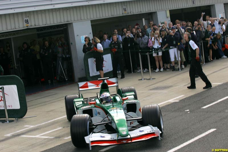 Christian Klien, Jaguar, Silverstone Testing, Wednesday June 2nd, 2004.