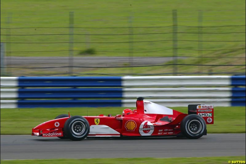 Michael Schumacher, Ferrari, Silverstone Testing, Tuesday June 2nd, 2004.