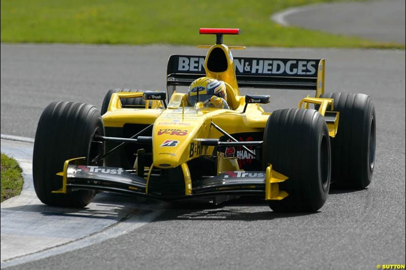 Giorgio Pantano, Jordan-Ford, Silverstone Testing, Tuesday June 2nd, 2004.