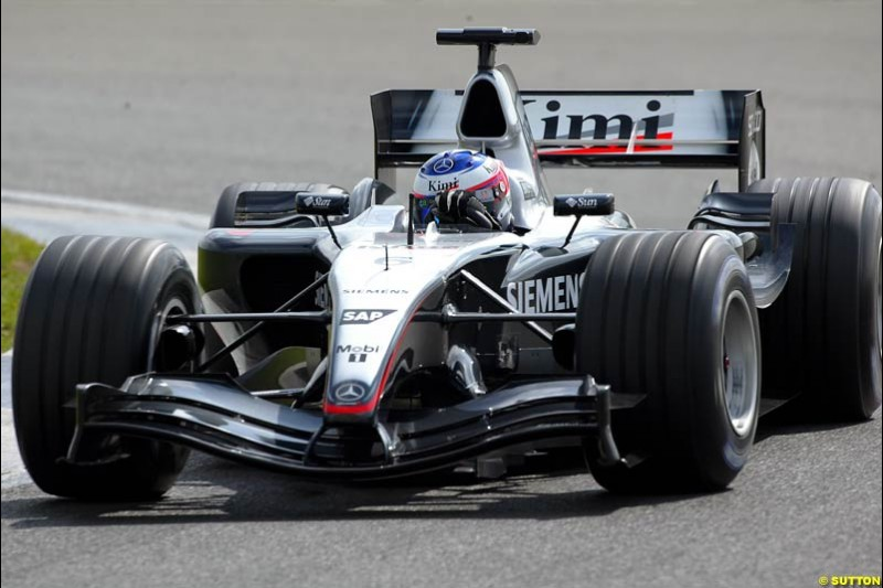 Kimi Raikkonen, Mclaren-Mercedes, Silverstone Testing, Tuesday June 2nd, 2004.