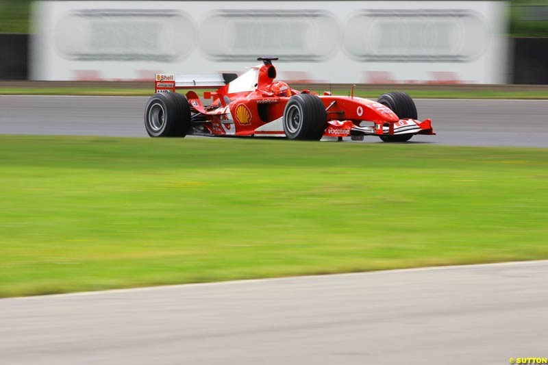 Michael Schumacher, Ferrari, Silverstone Testing, Wednesday June 2nd, 2004.