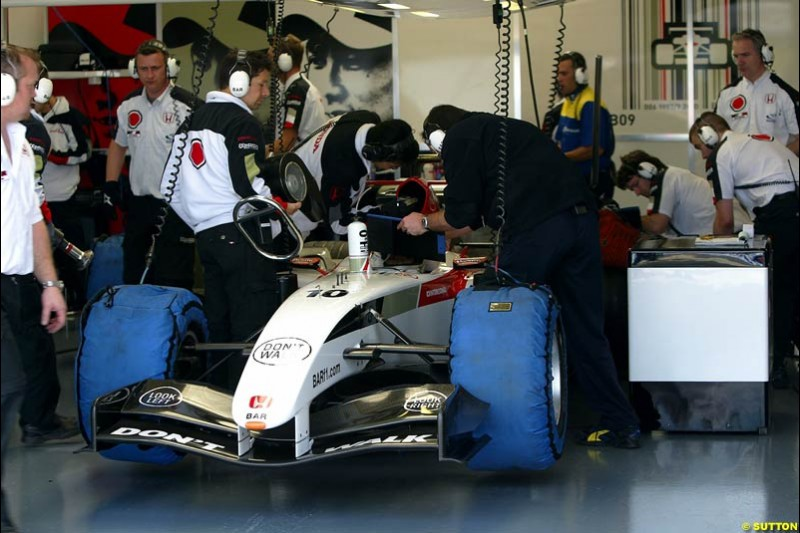 Takuma Sato, BAR-Honda, Silverstone Testing, Wednesday June 2nd, 2004.