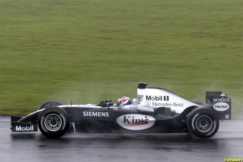 Kimi Raikkonen, Mclaren-Mercedes, tests the new MP4-19b. Silverstone Testing, Tuesday June 1st, 2004.