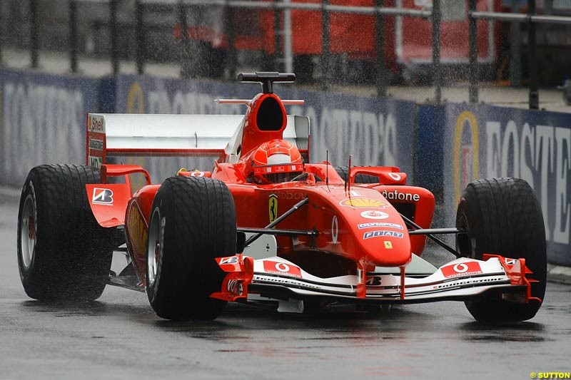 Michael Schumacher, Ferrari, Silverstone Testing, Tuesday June 1st, 2004.