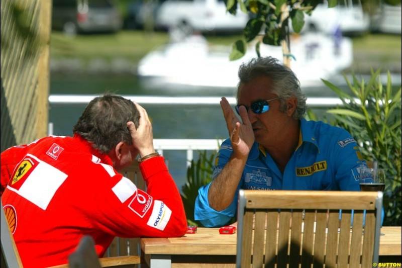 Jean Todt and Flavio Briatore. The Canadian Grand Prix, Montreal, Canada. Saturday, June 13th, 2004.