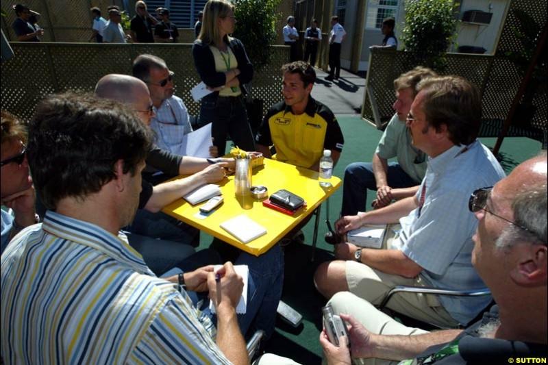 Timo Glock, Jordan, meets the press. The Canadian Grand Prix, Montreal, Canada. Saturday, June 13th, 2004.