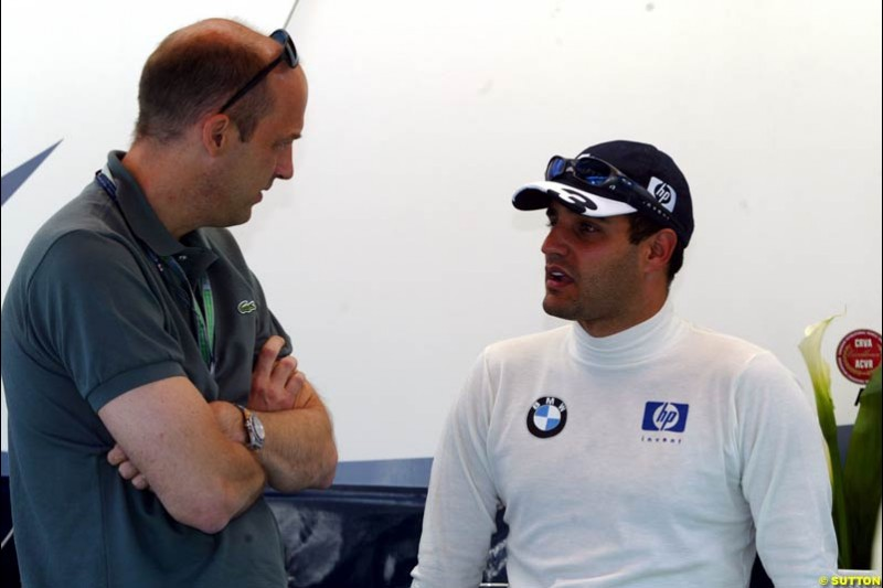 Former ER star Anthony Edwards chats with Williams driver Juan Pablo Montoya. The Canadian Grand Prix, Montreal, Canada. Saturday, June 13th, 2004.
