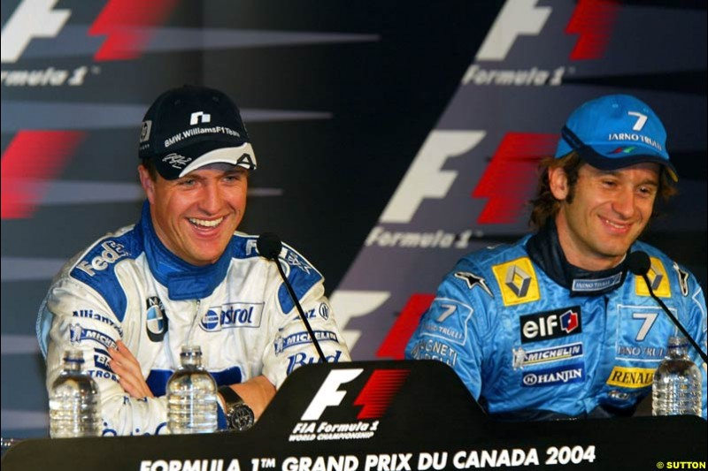 Ralf Schumacher and Jarno Trulli at the post-qualifying press conference. The Canadian Grand Prix, Montreal, Canada. Saturday, June 13th, 2004.