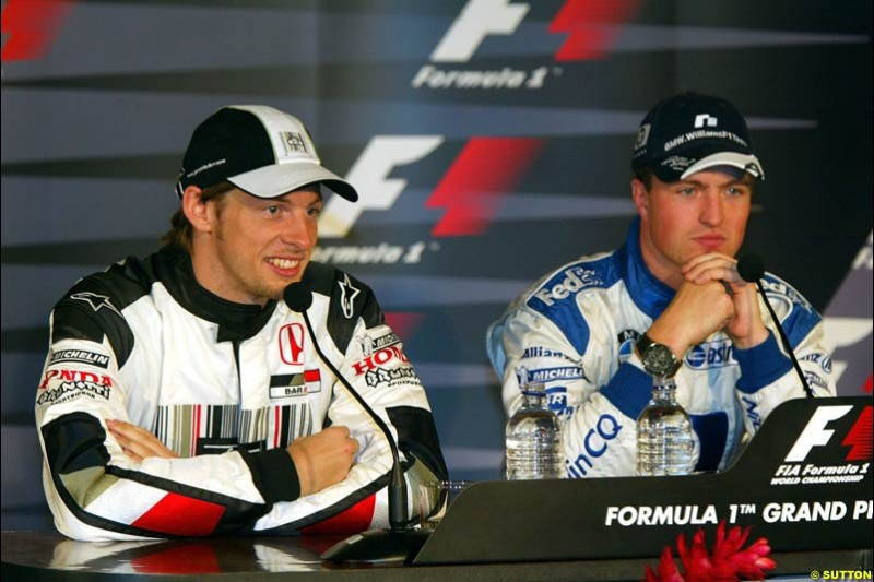 Jenson Button and Ralf Schumacher at the post-qualifying press conference. The Canadian Grand Prix, Montreal, Canada. Saturday, June 13th, 2004.