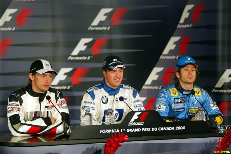 Jenson Button, Ralf Schumacher, and Jarno Trulli; Canadian GP, Saturday June 12th, 2004.