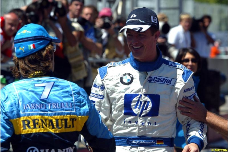 Jarno Trulli and Ralf Schumacher, Canadian GP, Saturday June 12th, 2004.