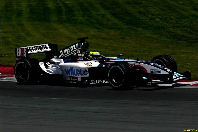 Zsolt Baumgartner, Minardi. Qualifying for the Canadian Grand Prix. Montreal, Canada, 12 June 2004.
