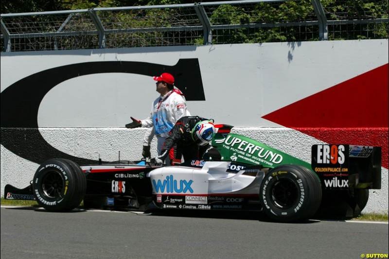 Gianmaria Bruni, Minardi. Qualifying for the Canadian Grand Prix. Montreal, Canada, 12 June 2004.