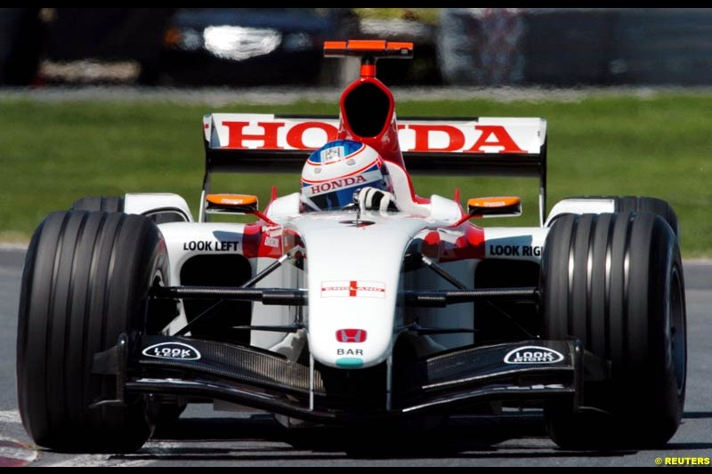 Jenson Button, BAR, during qualifying. The Canadian Grand Prix. Montreal, Canada, 12 June 2004.