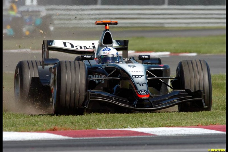 David Coulthard, McLaren, has an 'off' during practice. The Canadian Grand Prix. Montreal, Canada, 12 June 2004.
