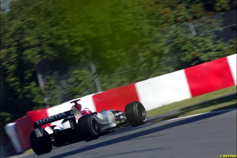 Jenson Button, BAR-Honda, Canadian GP, Saturday June 12th, 2004.