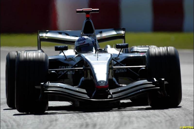 David Coulthard, Mclaren-Mercedes, Canadian GP, Saturday June 12th, 2004.