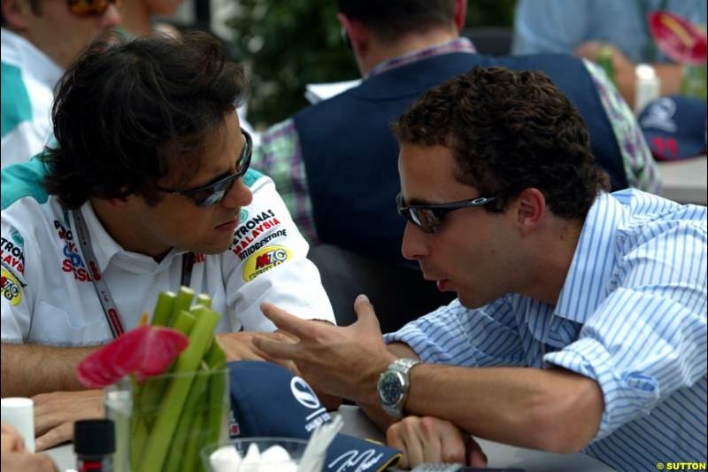 Felipe Massa and Nicolas Todt, United States GP, Thursday June 18th, 2004.