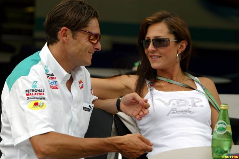 Giancarlo Fisichella and wife. United States GP, Indianapolis. June 17th, 2004.