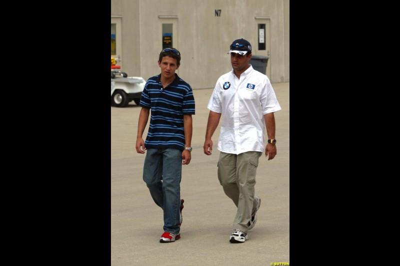 Federico and Juan Pablo Montoya, United States GP, Thursday June 17th, 2004.