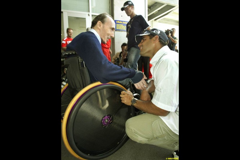 Frank Williams and Juan Pablo Montoya. United States GP, Indianapolis. June 17th, 2004.