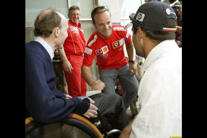 Sir Frank Williams, Rubens Barrichello, and Juan Pablo Montoya; United States GP, Thursday June 17th, 2004.