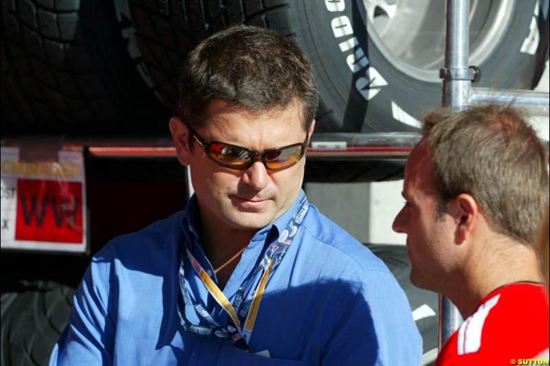 Gil de Ferran and Rubens Barrichello, United States GP, Saturday June 19th, 2004.