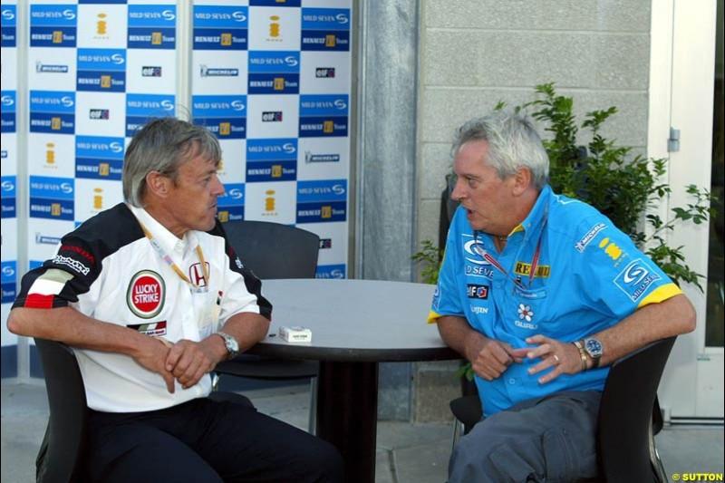 Adrian Reynard and Pat Symonds, United States GP, Saturday June 19th, 2004.