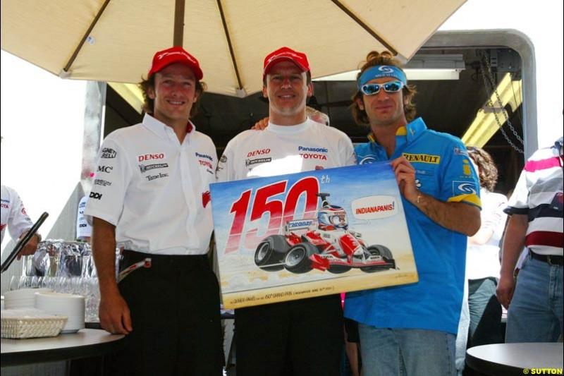 Cristiano da Matta, Olivier Panis, and Jarno Trulli; United States GP, Saturday June 19th, 2004.