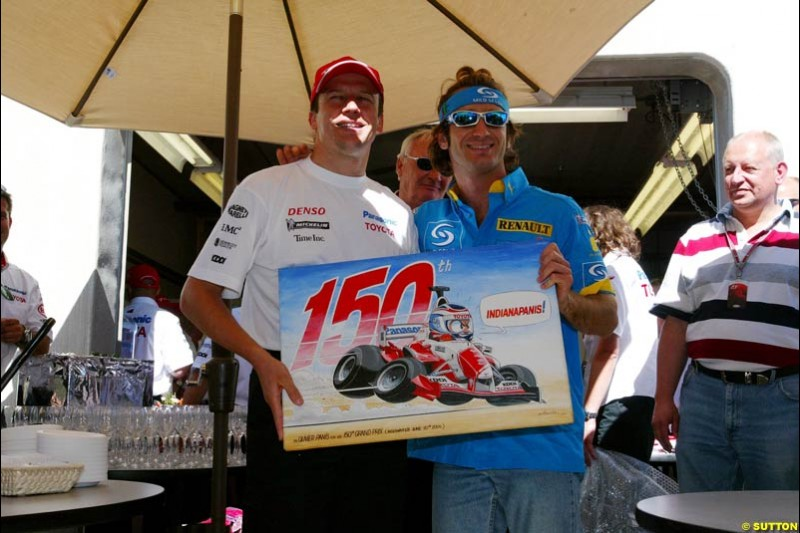 Olivier Panis and Jarno Trulli, United States GP, Saturday June 19th, 2004.