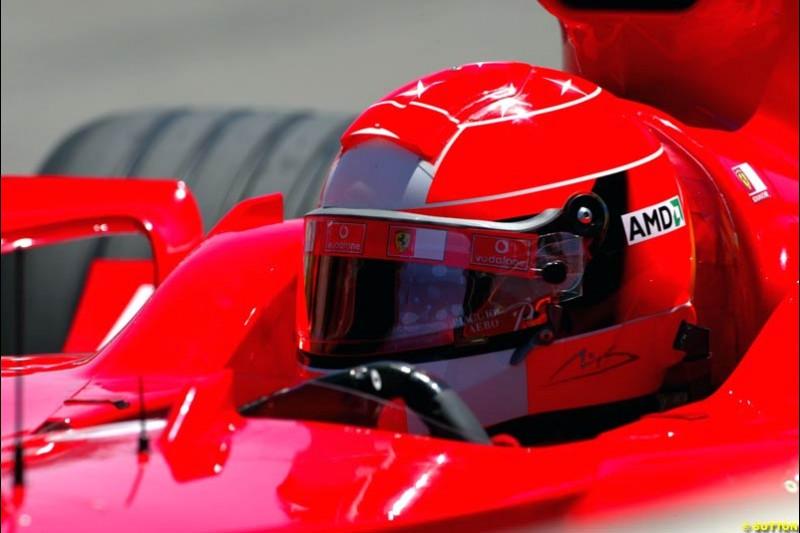 Michael Schumacher, Ferrari, United States GP, Saturday June 19th, 2004.