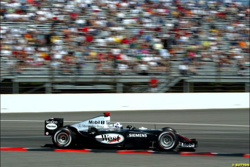 David Coulthard, Mclaren-Mercedes, United States GP, Saturday June 19th, 2004.