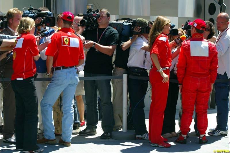 Michael Schumacher and Rubens Barrichello, United States GP, Saturday June 19th, 2004.